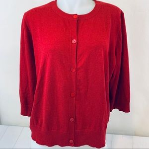 Eileen Fisher Cardigan Sweater 3/4 Sleeve Red